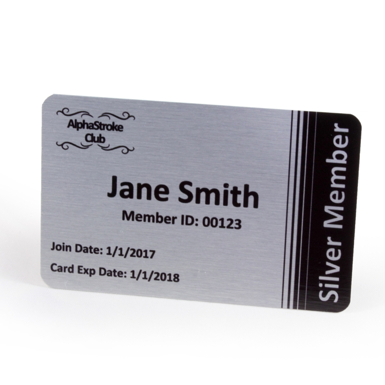 Metal Id Membership Cards  Single Sided