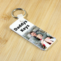 Personalised White 76x32mm Plastic Keyring - DOUBLE SIDED