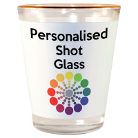 Gold Rimmed White Personalised Single Measure Shot Glasses